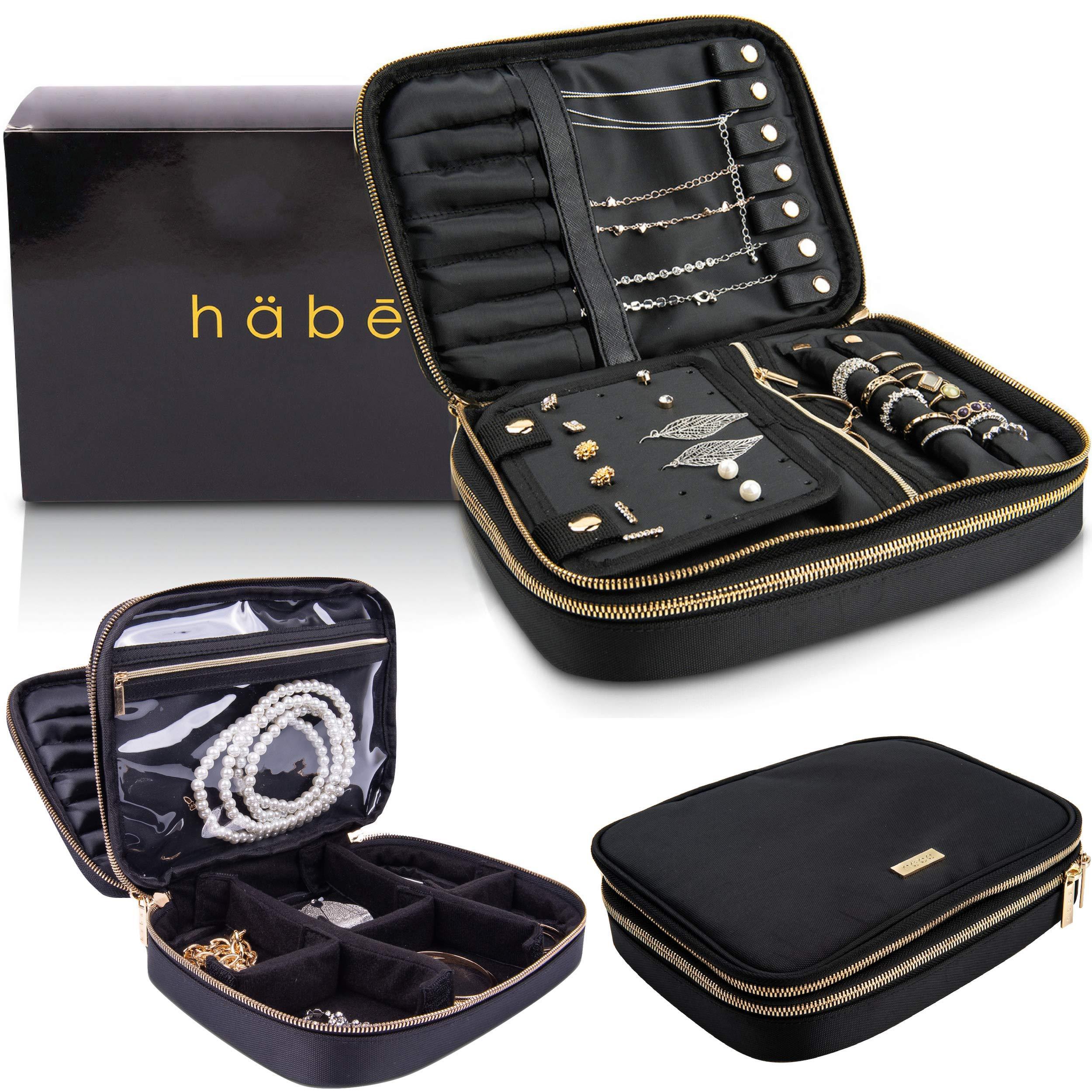 Habe旅行宝石類収納ボックス本当にもつれ省スペース宝石類収納袋小さな旅行宝石箱は*マルチ -  12ペアイヤリング、7ネックレス、調節可能分離層、大袋