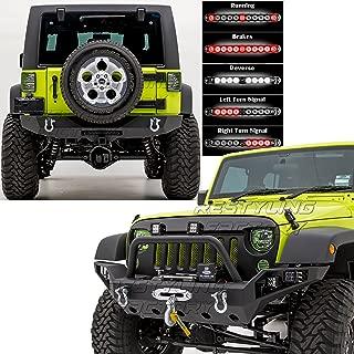 Restyling Factory -Rock Crawler Full Width Front Bumper w/ LED Lights Mount & Winch Plate+Rear Bumper w/ 3rd Brake LED RED Light Bar & 2