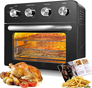 10-in-1 Air Fryer Oven, 24 QT large Convection Toaster Oven with Rotisserie and Dehydrator, 1700W Oil-free Cooking, 6 free Accessories & 75 Recipes, Black