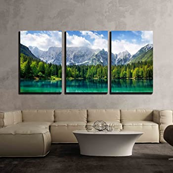 "wall26 - 3 Piece Canvas Wall Art - Beautiful Landscape with Turquoise Lake, Forest and Mountains - Modern Home Art Stretched and Framed Ready to Hang - 24""x36""x3 Panels"