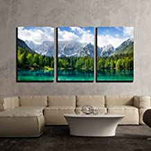 wall26 - 3 Piece Canvas Wall Art - Beautiful Landscape with Turquoise Lake, Forest and Mountains - Modern Home Decor Stretched and Framed Ready to Hang - 24