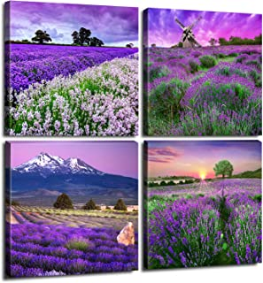 Pastoral Home Decor Canvas Wall Art - Purple Lavender Flowers Pictures Provence Fields Landscape Paintings Living Room Bedroom Bathroom Decoration Stretched And Framed Sets of 4 Pieces 12x12