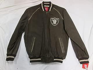 Oakland Raiders Mens Large Embroidered Full Zip Execuitve Leather Jacket ARAD 1 L