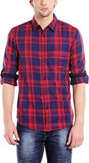 Dennis Lingo Men's Cotton Red Checkered Casual Shirt
