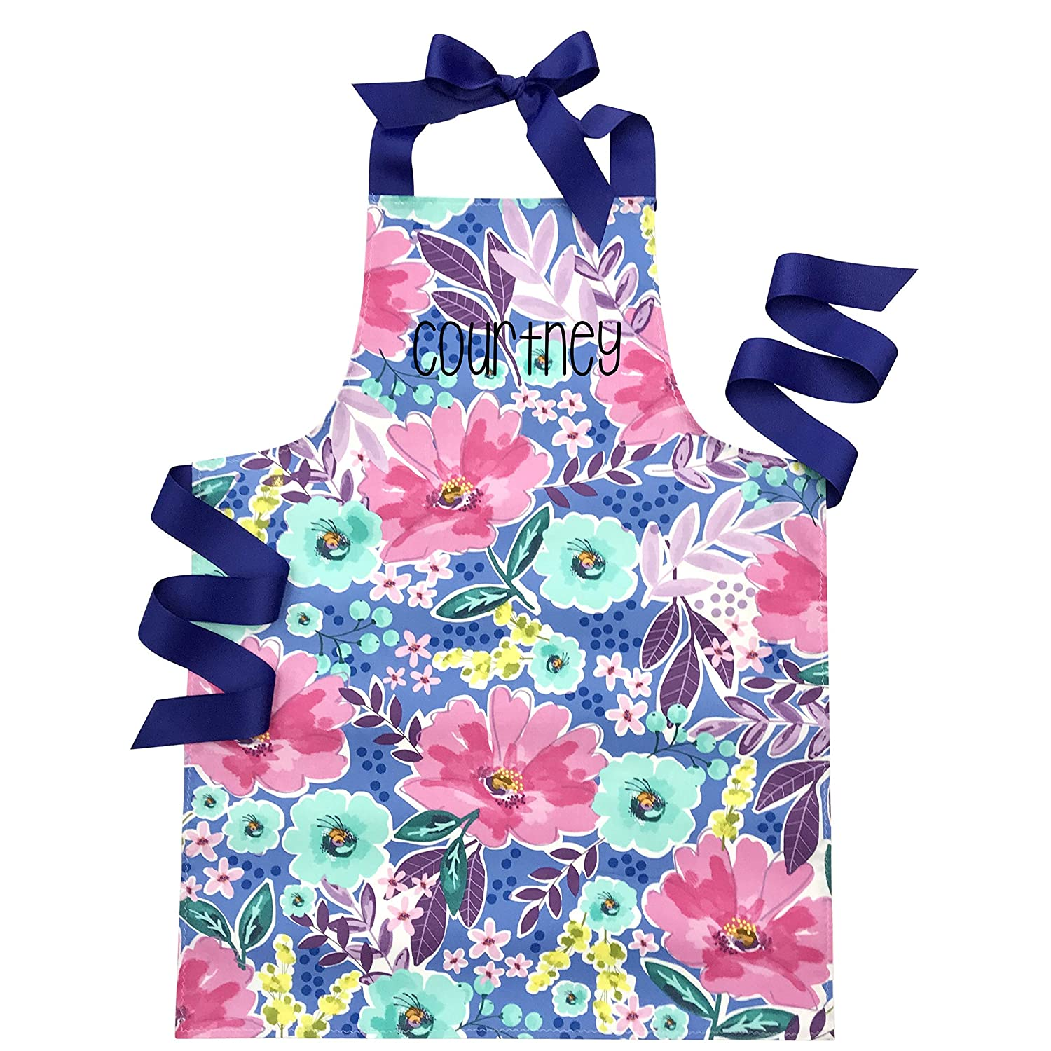 Personalized High quality new Watercolor Floral Handmade Daily bargain sale Baking Apron Gift or Art