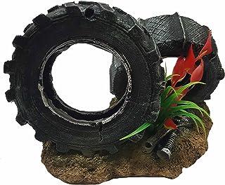 Takestop® Neumático Rueda Ruedas Rocciosa 18 x 11 x 12 cm Jardín Submarino Ornamento para