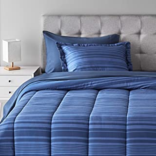 Amazon Basics 5-Piece Light-Weight Microfiber Bed-In-A-Bag Comforter Bedding Set - Twin/Twin XL, Blue Calvin Stripe