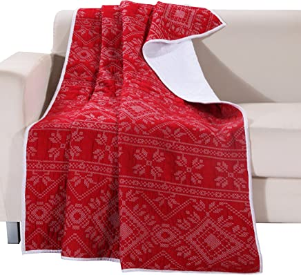 featured product Greenland Home Holly Quilted Cotton Throw with Cross Stitching,  Red