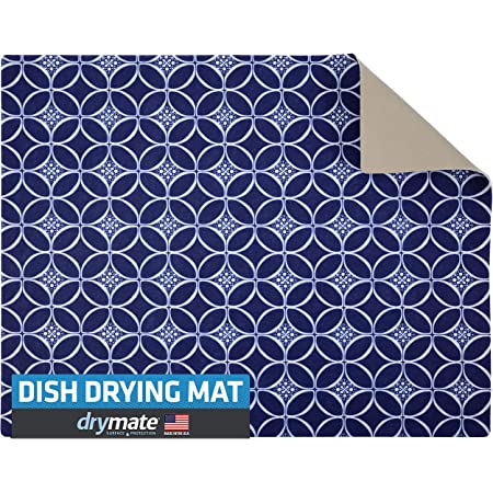 "Drymate Premium Dish Drying Mat, XL Size (19"" x 24""), Absorbent Fabric Low-Profile Kitchen Drying Pad – Waterproof – Machine Washable/Durable (Made in the USA) (Indigo)"
