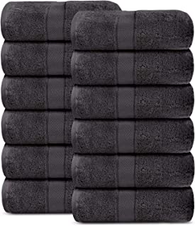 100% Cotton Towels, Pack of 12 Face Towels 600 GSM Plush, Heavy Weight Luxury Spa Quality Aerocore Towels Set (Charcoal)- ...