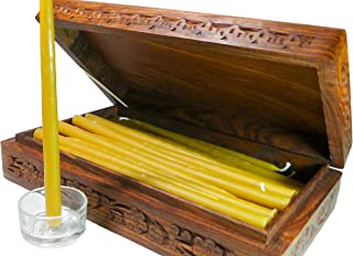 BCandle 100% Beeswax 2-Hour Candles Organic Hand Made - 7 1/2 Inch Tall, 3/8 Inch Diameter (Pack of 36), Wood Box