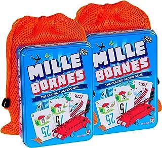 Mille Bornes Card Game in Tin    Bundle of 2    with 2 Orange Mesh Drawstring Storage Pouches    Bundled Items