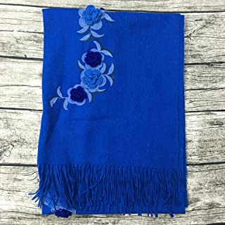 Autumn And Winter Embroidered Wool Scarves Ms. Thick Warm Shawl Crochet Jewelry Fashion Wild Flowers Plain Scarves