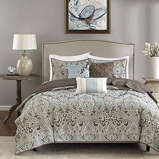 Madison Park Quilt Set Traditional Damask Design, All Season, Lightweight Coverlet Bedspread Bedding Set, Matching Shams, ...