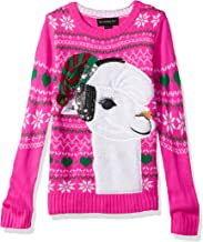 Blizzard Bay Girls' Big Fuzzy Llama W/Sequin Xmas Sweater