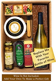 Wine Gift Basket For Christmas With Cheese and Sausage, Olives Crackers - Gourmet Food Gift Baskets- Alternative to Wine B...