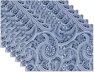DII Outdoor Table Linens Blue Paisley, Placemats, 6 Pieces