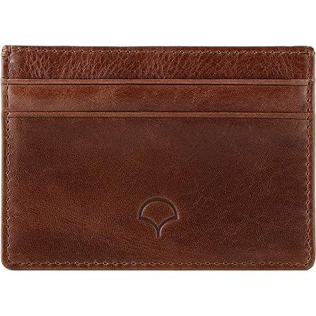 Genuine Leather Credit Card Holder Wallet & Giftbox, Walnut Brown - RFID Blocking, 5 Pockets, Slim Design