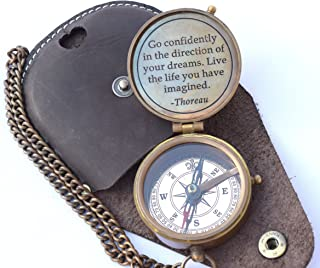 Thoreau's Go Confidently Quote Engraved Compass with Stamped Leather case, Camping Compass, Boating Compass, Gift Compass, Graduation Day Gifts
