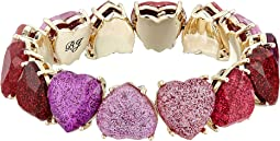 Betsey Johnson - Gold Tone Sparkle Heart Stretch Bracelet