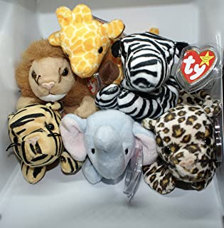 The Jungle Animal Stuffed Toy Collection, Set of 6, TY Beanie Babies. Featuring Stripes the Tiger, Peanut the Elephant, Freckles the Leopard, Roary the Lion, Twigs the Giraffe, Ziggy the Zebra