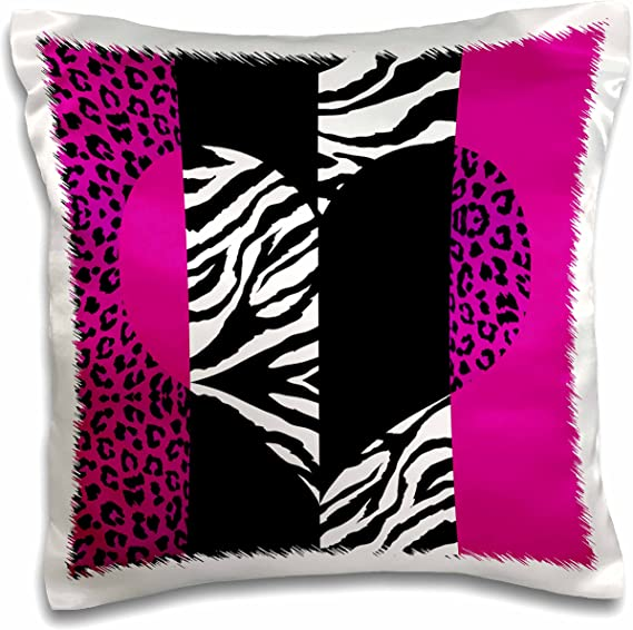 3drose Pink Black And White Animal Print Leopard And Zebra Heart Pillow Case 16 By 16 Pc 35437 1 Arts Crafts Sewing Amazon Com