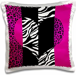 """3dRose Pink Black and White Animal Print-Leopard and Zebra Heart-Pillow Case, 16 by 16"""" (pc_35437_1)"""