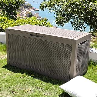 SKYLANTERN Coffre de Jardin Exterieur 380L Gris Effet Tressé - Caisse de Rangement en Plastique - Coffre de Rangement Jard...
