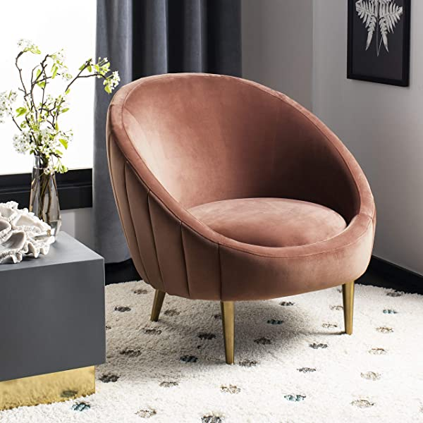 Safavieh SFV4700C Home Collection Razia Channel Tufted Tub Dusty Rose Club Accent Chair Gold
