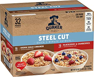 Quaker Steel Cut Quick 3-Minute Oatmeal, 2 Flavor Variety Pack, Individual Packets, 32 Count