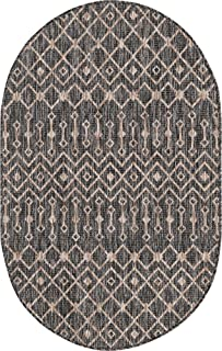 """Unique Loom Trellis Collection Tribal Geometric Transitional Indoor and Outdoor Flatweave Oval Rug, 3' 3"""" x 5' 3"""", Charcoa..."""