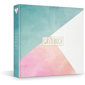 Hardcover Gästebuch mit vorgegebenen Fragen und Blanko-Seiten, 21 x 21 cm, geeignet für viele Anlässe – für ca. 80 Einträge (breit)