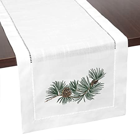 Brio Trends Hemstitch Table Runner With Embroidered Holiday Pine Cones Rustic Farmhouse Home Decor For Fall Winter Christmas Or Thanksgiving White 14 X 112 Inch Home Kitchen
