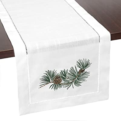 Brio Trends Hemstitch Table Runner with Embroidered Holiday Pine Cones Rustic Farmhouse Home Decor for Fall Winter Christmas or Thanksgiving   White 14 x 112 inch