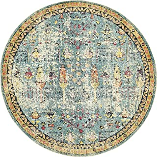 Vintage Modern and Traditional Rugs -Feet Troezen Collection Area Rug (8'-Feet-Round, Blue, Beige, Gold, Navy Blue, Orange, Purple, Red)