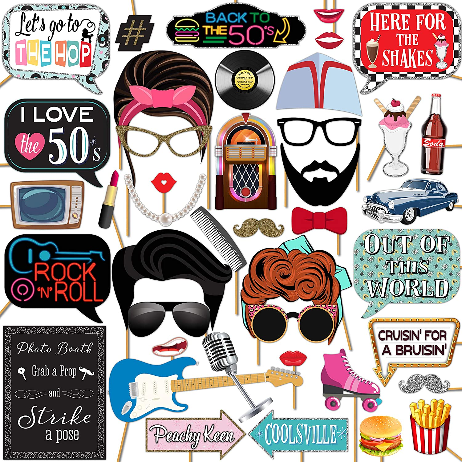 Amazon Com 1950s Sock Hop 50 S Rock And Roll Party Photo Booth Props 41 Pieces With Wooden Sticks And Strike A Pose Sign By Outside The Booth Home Kitchen