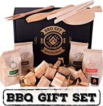 BBQ grill cooking set - Outdoor barbeque and grilling accessories - Smoker gift-set for mens / dad / husband - Grill tools kit for bbq lovers