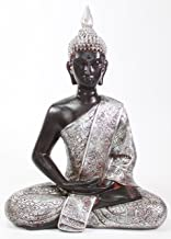 "We pay your sales tax Feng Shui 11"" Silver and Black Thai Meditating Buddha Home Decor Statue (KT00138)"