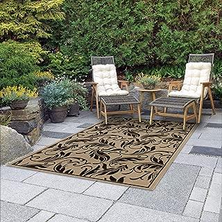 Mats Flatweave Indoor Outdoor Rugs with Contemporary Breeze Design Area Rugs Patio Rug Flooring Carpets 9x12 (8'10''x11'9'', Black)