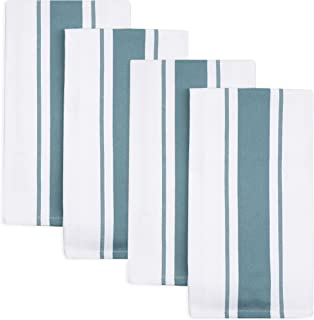 Sticky Toffee Cotton Kitchen Dish Towels, Stripe 4 Pack, 27.5 in x 19.5 in, Blue