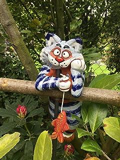 Gartenkeramik Tangoo Gartenstecker Keramik Katze blau für den Garten