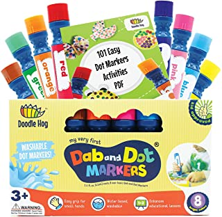 Washable 8 Colors Dot Markers Pack Set. Fun Art Supplies for Kids, Toddlers and Preschoolers. Non Toxic Arts and Crafts Su...