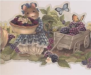 Mouse Offering Berries Farmhouse Wallpaper Border Retro Design, Roll 15' x 8.25''