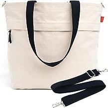 Caldo Canvas Market Tote - Large Travel Bag with Outer Zipper Pocket and Adjustable Shoulder Strap (Natural)