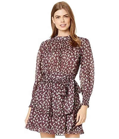 La Vie Rebecca Taylor Long Sleeve Cherise Dress (Mahogany Combo) Women