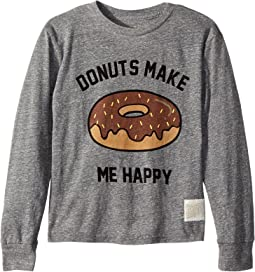 The Original Retro Brand Kids Donuts Make Me Happy Long Sleeve Tri-Blend T-Shirt (Big Kids)