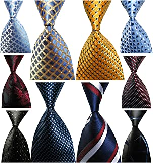 Wehug Lot 10 PCS Men's Ties 100% Silk Tie Woven Jacquard Neckties Classic Ties