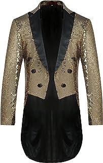 Allthemen Mens Sequin Tuxedo Jacket Tails Slim Fit Tailcoat Dress Coat Swallowtail Dinner Party Wedding Blazer Suit Jacket