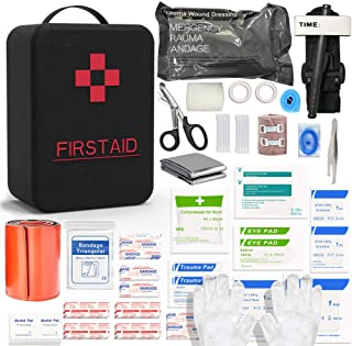 SHBC First Aid Survival Kit Tactical IFAK Pouch Supplied with 26 EMT Items for Military Emergency Outdoors Including CAT T...