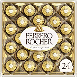 Ferrero Rocher Fine Hazelnut Milk Chocolate, 24 Count, Chocolate Candy Gift Box, 10.5 Oz, Perfect Mother's Day Gift for Mom